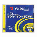 Диск DVD+RW Verbatim 4.7Gb 4x Jewel case (1шт) (43246/43228/43229)